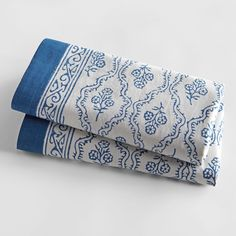 Blue Trellis Hand-printed Pillow Cases - Set of 2 | National Geographic Store