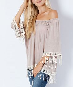 Look at this Stone Crochet-Trim Tunic on #zulily today!