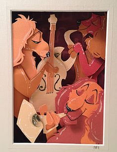 """Wish I had the talent to do this! All pieces of perfectly placed paper! """"Cut paper Jazz playing Spaniels."""""""