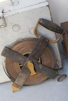 Vintage foot tape steel,  50'' civil engineer measuring tape, Industrial Tool, museum piece, end of XIX, New York