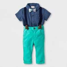 Find product information, ratings and reviews for Baby Boys' 2pc Short Sleeve Button Down Shirt Pants with Bow Tie and Suspenders - Cat & Jack™ Green/Blue online on Target.com.