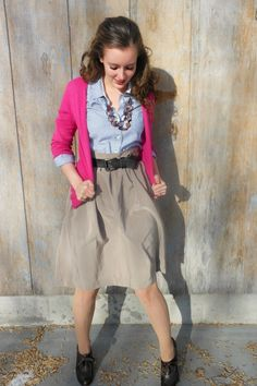 Button Up Shirt, Cardigan, Skirt, and High-Heeled Oxfords Mom Outfits, Classy Outfits, Pretty Outfits, Spring Outfits, Cute Outfits, Modest Fashion, Fashion Outfits, Womens Fashion, Work Clothes