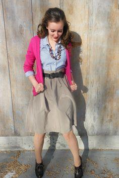 Button Up Shirt, Cardigan, Skirt, and High-Heeled Oxfords