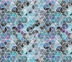 Blue Watercolour Space Hexagons fabric by emmaallardsmith on Spoonflower - custom fabric