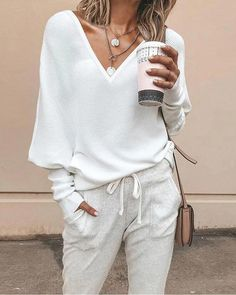 Women Casual V Neck Solid Color Blouses Sweaters Mode Outfits, Casual Outfits, Women's Casual, Fashion Outfits, Casual Women's Fashion, Casual Wear, Fashion Clothes, Boho Fashion, Casual Sweaters