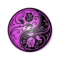 This beautiful yin yang design features two stylized tribal roses. Intricate purple and black swirls decorate both sides of this traditional symbol creating a delicate pattern. The two flowers flow from the bottom of the teardrop on either side with leaves growing from the stems. This unique yin yang makes a stunning and stylish sticker design.