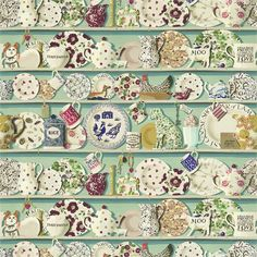 The Dresser Wallpaper by Sanderson. A wide width wallpaper designed by Emma Bridgewater. Printed with a design inspired by her own personal farmhouse kitchen dresser, stacked with crockery, knickknacks and pottery in multicolours on duck egg.
