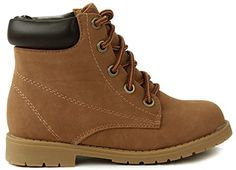 JJF Shoes Bade Kids Girls Tan Combat Military Nubuck Lace Up High Top Ankle Boots-1