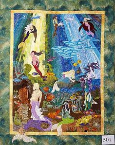 'Atlantis by Carol Parkes. Special Exhibitor's Choice Award, 2007 Auckland Patchworkers and Quilters Guild Quilt Art, Book Quilt, Tree Quilt Pattern, Quilt Patterns, Mermaid Quilt, Ocean Quilt, Project Ideas, Craft Ideas, Appliqué Quilts