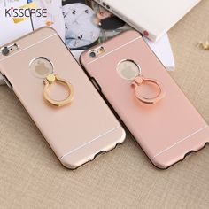 KISSCASE For iPhone 5 5S SE Aluminum Cover Metal Silicone Hybrid Armor Case For iPhone 5 5S For iPhone SE Ring Phone Stand Coque