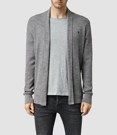 Mens Mode Merino Open Cardigan (Grey Marl) - product_image_alt_text_1