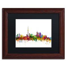 Michael Tompsett 'Toronto Canada Skyline IV' Matte, Wood Framed Wall Art