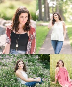 A beautiful senior portrait session full of variety. Featuring a creek, field of purple flowers, and field at sunset. Photographed by Mechanicsburg senior photographer Tina Jay Photography.