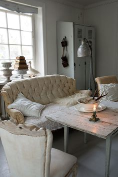 Shabby, white, with vintage details and industrial chic.