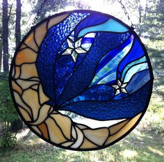 man in the moon with 5 point shooting stars by samsarastainedglass, $324.99