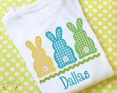 EASTER BUNNY TRIO Boys personalized Custom monogrammed Long sleeve onesie child's T-Shirt gift appliqued embroidered
