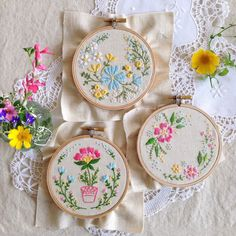 Discounted Bundle of 3 Embroidery Kits, Embroidery designs - 'Flowerpot', 'Blossoming Garden' Circle of flowers'
