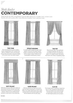 Contemporary window treatment drawings