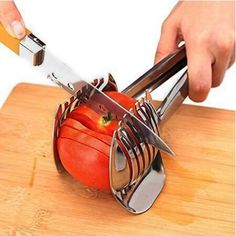 Tomato Slicer Lemon Cutter Handheld Round Fruit Tongs Stainless Steel Onion Holder Cutting Aid Gadgets Tool