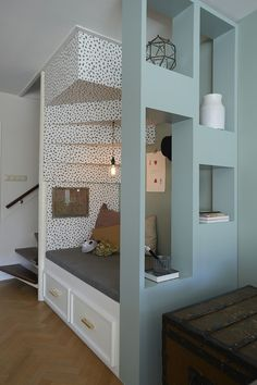 Lovely idea for a room divider (it doesn't necessarily have to be under the stairs ; Home Interior Design, House Design, Home And Living, House Interior, Happy New Home, Home, Interior, Home Decor, Living Room Designs