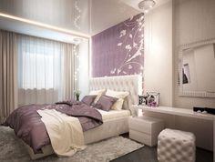 Интерьер спальни в бежево-фиолетовых тонах