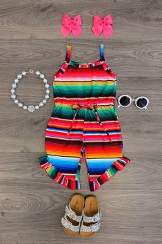 Serape Ruffle Romper - Sparkle In Pink Cute Baby Girl, Baby Love, Cute Babies, Baby Girl Romper, Baby Dress, Toddler Outfits, Kids Outfits, Cute Outfits, Baby Outfits