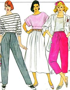 1980s Womens Pants Pattern Butterick 3188 Pleated by paneenjerez, $12.00