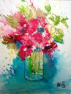 Watercolor flowers brusho