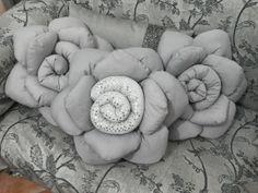 Cuscino a forma di Rosa,Grigio/sbrilluccichio, doubleface