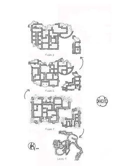 Ruined-castle, Floor plan, rpg map, kosmic dungeon