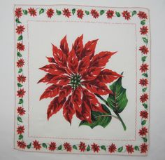 "VINTAGE HANDKERCHIEF CHRISTMAS LARGE RED POINSETTIAS & HOLLY 11"" X 12"" EXCELLENT"