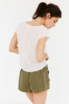 Ecote Raw-Edge Woven Tee - Urban Outfitters