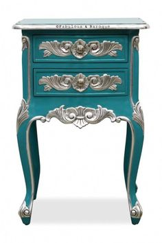 Cosette 2 Drawer Side Table - Aqua Blue & Silver - Fabulous and Baroque Baroque Furniture, Funky Furniture, Recycled Furniture, Refurbished Furniture, Colorful Furniture, Paint Furniture, Unique Furniture, Shabby Chic Furniture, Rustic Furniture