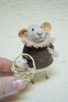 Mom and Baby  unique  needle felted ornament by feltingdreams