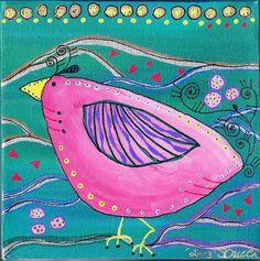Chicken Doodles Series  Painting - Original - Twixie the Pink Colorful Chicken  Folk Art Chicken Antics