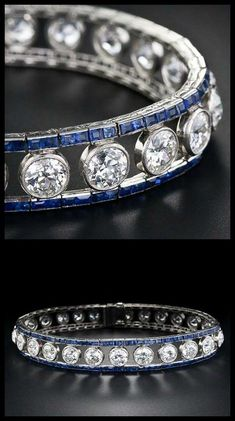French Art Deco diamond and sapphire bracelet, circa 1925. 10 carats of diamonds bordered by calibre-cut sapphires. - Diamonds in the Library