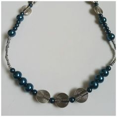 Blue Glass Pearl and Silver Tone Beaded Necklace by Naps on Etsy