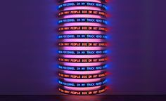"""Jenny Holzer, Monument 2008, featuring declassified government documents from the """"war on terror"""".  The Light Show, London"""