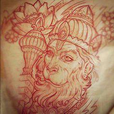 The monkey king Hindu Tattoos, Asian Tattoos, Arm Tattoos, Sleeve Tattoos, Tatoos, Hanuman Tattoo, Ganesha Tattoo, Geometric Tattoo Ram, Gott Tattoos