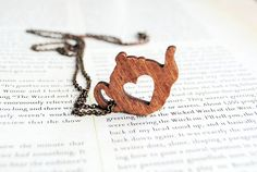 A necklace for tea lovers! - Tea Pot Heart Wooden by onetenzeroseven on Etsy