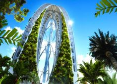 Dragonfly, a 128-floor vertical farm concept by Vincent Callebaut Architectures. The building supports housing, offices, laboratories and and twenty-eight different agricultural fields. It completely sustains itself using solar-power, wind-power, and captured rain water.