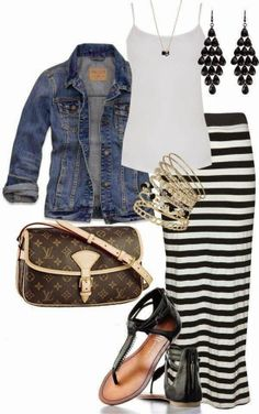 Stylish Jeans Jacket with T-shirt, Maxi Skirt, Handbag, Summer Shoes and Accessories