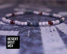 Garnet man, Chrysocolla man, Mens bracelet, Man bracelet, Wooden bracelet man, Wood bracelet man, Stretch bracelet by DESERTDUSTMEN on Etsy