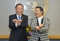 The meeting of the S. Korean stars. (UN Secretary General Ban Ki-Moon & Psy)