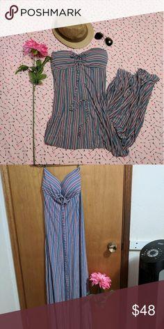 Maxi Dress Sleeveless maxi dress, multi color stipes Size L Dresses Strapless