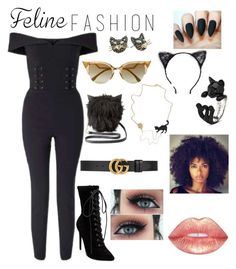 """""""Feline fashion"""" by onecece ❤ liked on Polyvore featuring Miss Selfridge, Steve Madden, Charlotte Russe, Tasha, Fendi, Betsey Johnson and Gucci"""