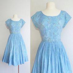 1950s blue floral dress  vintage 50s dress  by FoundbyMeVintage ($84) - Cinderella