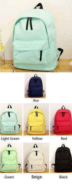 A cute Simple Pure Color Solid Student Rucksack School Bag For Girl Canvas Backpacks for my daughter ! #canvas #pure#backpack #bag #rucksack #college #student #school #new #camping #outdoor