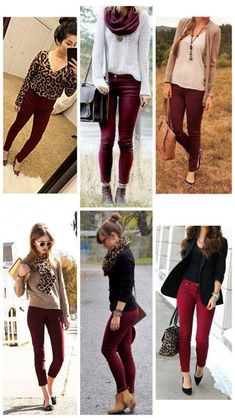 How to Wear Burgundy Pants How to Wear Burgundy Colored Pants – The Asterisk Boutique Legging Outfits, Outfit Jeans, Burgundy Jeans Outfit, Maroon Pants Outfit, Jeans Outfit Winter, What To Wear With Burgundy Pants, Colored Jeans Outfits, Burgundy Skinny Jeans, Business Casual Attire