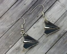 Paper Airplane Dangle Earring  Quirky Handmade by TheSonderShoppe